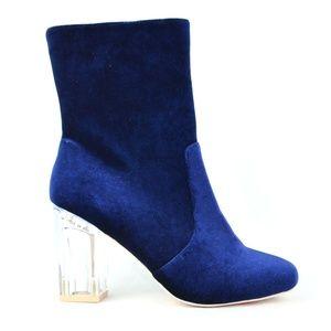 Women's Clear Chunky Heel Blue Velvet Ankle Boot